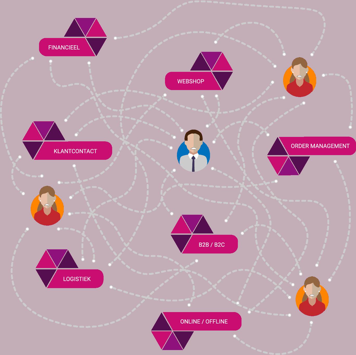 Bedrijfssoftware bestaande uit allerlei losse systemen en koppelingen