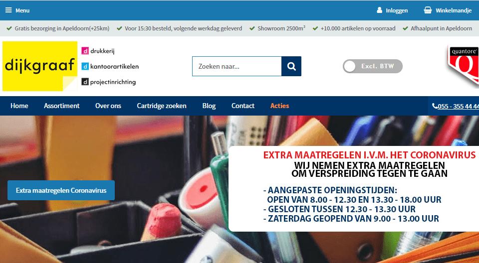 Voorbeeld corona bericht op webshop homepage banner