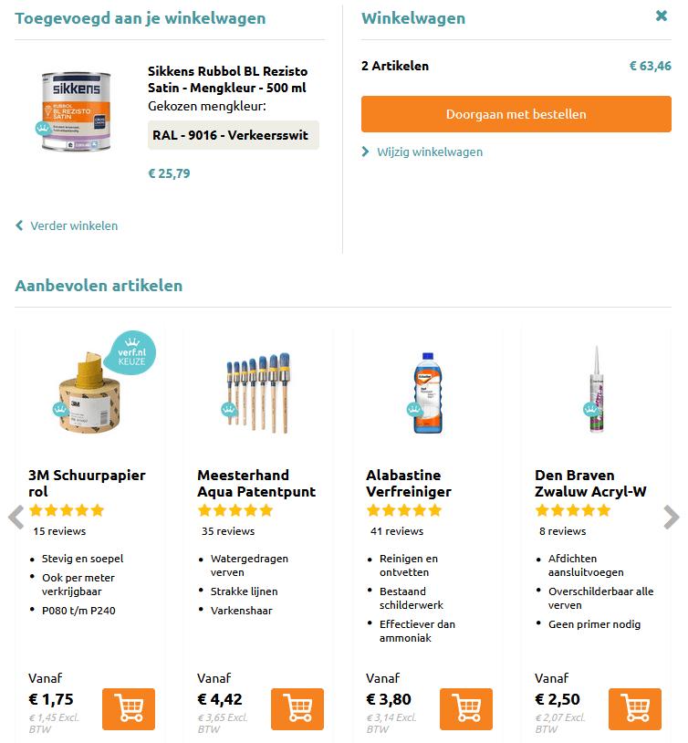 Voorbeeld webshop cross-sell aanbevolen artikelen